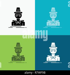 Detective, hacker, incognito, spy, thief Icon Over Various Background. glyph style design, designed for web and app. Eps 10 vector illustration - Stock Photo