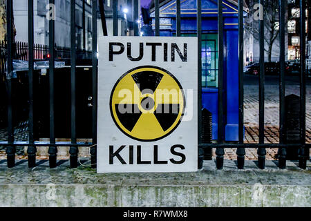 London, UK. 11th Dec 2018. Anti-Putin Ukrainian protest outside Downing Street with banner #FreeSentsov on 11th December 2018, London, UK. Credit: Picture Capital/Alamy Live News - Stock Photo