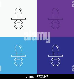nipple, baby, dummy, pacifier, kids Icon Over Various Background. Line style design, designed for web and app. Eps 10 vector illustration - Stock Photo
