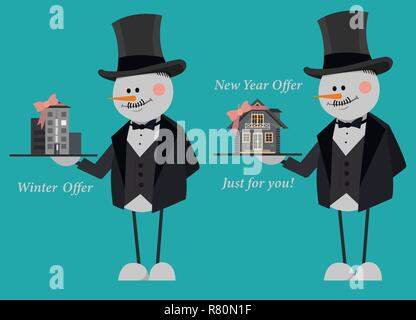 Snowmen in suits and top hats offering a new flat and country house just for you. New Year Offer. Vector illustration on a blue background. EPS 10 fil - Stock Photo