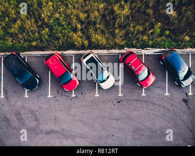 View from above car parking full vehicles. - Stock Photo