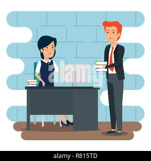 businesswoman and businessman in the office with books plan - Stock Photo
