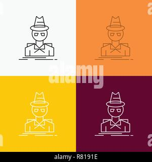 Detective, hacker, incognito, spy, thief Icon Over Various Background. Line style design, designed for web and app. Eps 10 vector illustration - Stock Photo