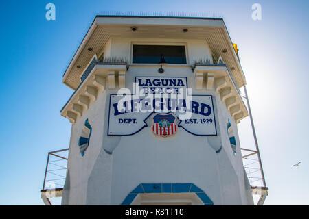 Laguna Beach, California - October 9, 2018: This lifeguard tower was seen at Laguna Beach on this date - Stock Photo