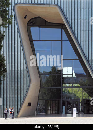Entrance to the Museum of the History of Polish Jews in Warsaw, Poland - Stock Photo