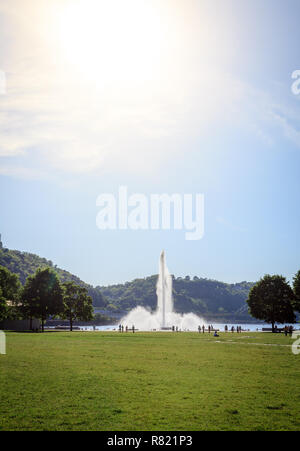 Scenic view of the fountain in Point State Park in Pittsburgh, Pennsylvania - Stock Photo