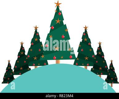 christmas pine trees on white background vector illustration - Stock Photo