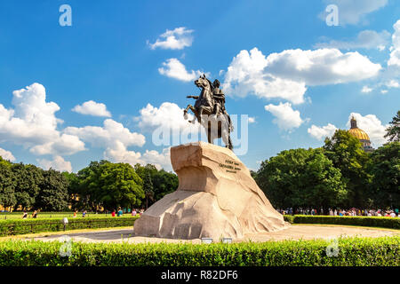 St. Petersburg, Russia - August 7, 2017: Equestrian monument of Russian emperor Peter the Great (Peter First), known as The Bronze Horseman (1782) - Stock Photo