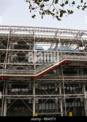Close-up of the west façade of the Pompidou Centre, Beaubourg, Paris, France, showing the external walkways, escalator and services - Stock Photo