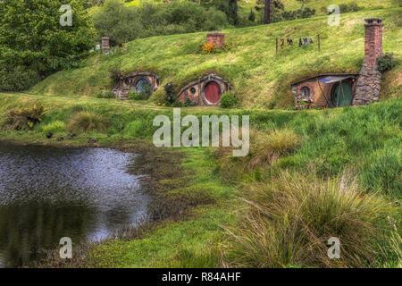Hobbiton, Movie Set, Waikato, Matamata, New Zealand - Stock Photo