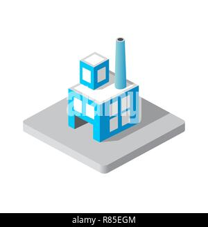 Isometric 3d Industrial factory decorative icon. Architecture manufactured, property and facility. Isolated cartoon illustration of plant symbol for w - Stock Photo