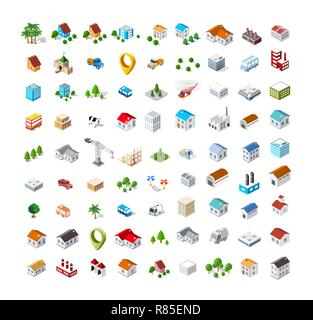 Isometric vector 3D icon city buildings for web concept set which includes house, crane, homes shop stores, supermarkets and industrial elements - Stock Photo