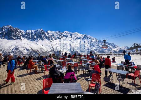 Terrace on the Brevent, Winter sports resort in Chamonix Mont Blanc. Haute-Savoie, European Alps, France - Stock Photo
