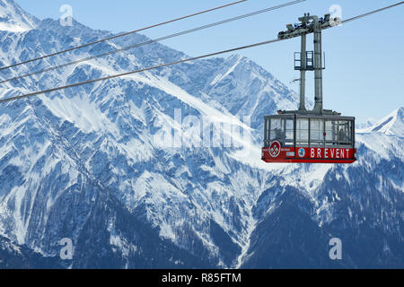 Cable car of the Brevent, winter sports resort in Chamonix Mont Blanc. Haute-Savoie, European Alps, France - Stock Photo