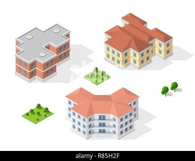 Isometric 3D dimensional building of modern architecture of urban construction. Drawing map engineering design landscape top view - Stock Photo