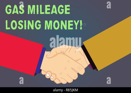 Handwriting text Gas Mileage Losing Money. Concept meaning Long road high gas fuel costs financial losses Hu analysis Shaking Hands on Agreement Greet - Stock Photo