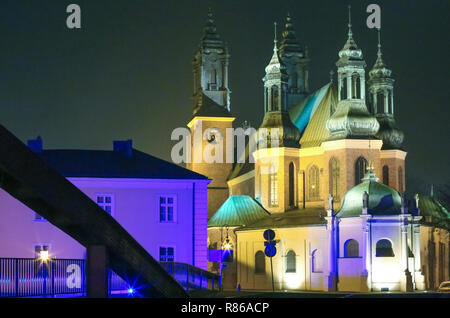 Cathedral in Poznan, on the island 'Ostrow Tumski', view from the bridge over the river. Poland. - Stock Photo