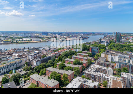 View over the port of Hamburg from the tower of St Michael's Church (Hauptkirche Sankt Michaelis), Hamburg, Germany - Stock Photo