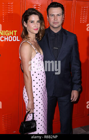 LOS ANGELES, CA, USA - SEPTEMBER 24: Cobie Smulders, Taran Killam at the Los Angeles Premiere Of Universal Pictures' 'Night School' held at Regal Cinemas L.A. LIVE Stadium 14 on September 24, 2018 in Los Angeles, California, United States. (Photo by Xavier Collin/Image Press Agency) - Stock Photo