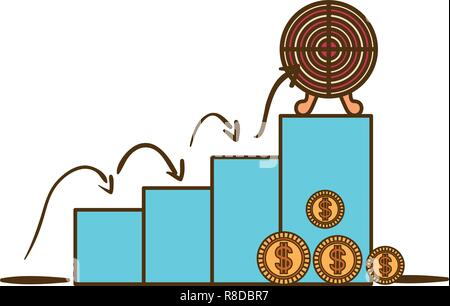 bar chart with target shooting isolated icon - Stock Photo