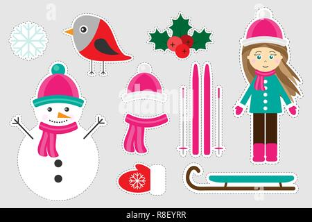 Different colorful winter christmas pictures for children, fun education game for kids, preschool activity, set of stickers, vector illustration - Stock Photo