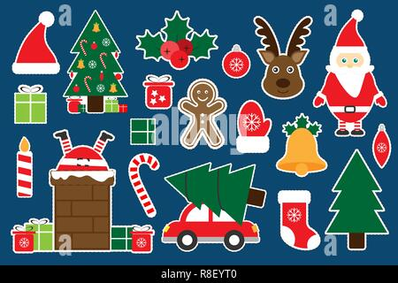 Different colorful christmas pictures for children, fun education game for kids, preschool activity, set of stickers, vector illustration - Stock Photo