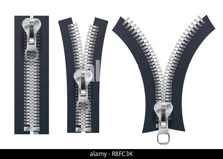 Set of different metallic fasteners, open and closed zippers isolated on white - Stock Photo