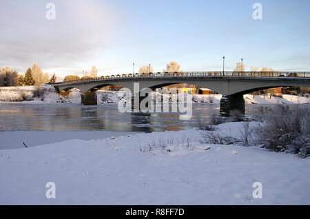 Beautiful winter morning in a small rural town in Sweden. - Stock Photo