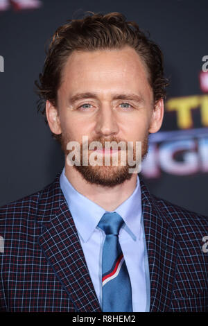 HOLLYWOOD, LOS ANGELES, CA, USA - OCTOBER 10: Tom Hiddleston at the World Premiere Of Disney And Marvel's 'Thor: Ragnarok' held at the El Capitan Theatre on October 10, 2017 in Hollywood, Los Angeles, California, United States. (Photo by Xavier Collin/Image Press Agency) - Stock Photo