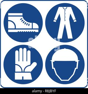 Safety signs set. Information mandatory symbol in blue circle isolated on white. Notice label. - Stock Photo