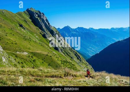 Switzerland, Valais, Tour du Mt Blanc, Trient, col de Balme, ridges of la Croix de Fer - Stock Photo