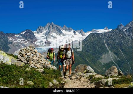 France, Haute-Savoie, Argentière, Aiguilles Rouges range, Tour du Mont Blanc, col of La Tête aux Vents, with Tour glacier and Aiguilles Dorées in the back - Stock Photo