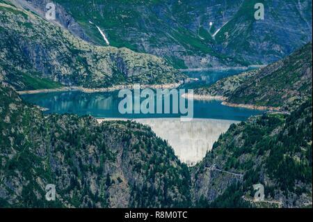 Switzerland, Valais, Tour du Mt Blanc, Trient, Emosson dam from col de Balme - Stock Photo