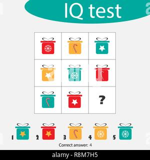 Choose correct answer, IQ test with christmas gift boxes for children, xmas fun education game for kids, preschool worksheet activity, task for the development of logical thinking, vector illustration - Stock Photo