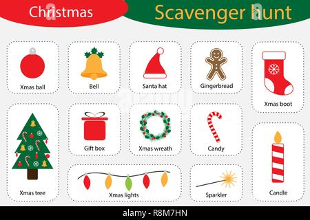 Scavenger hunt, christmas at home, different colorful pictures for children, fun education search game for kids, development for toddlers, preschool activity, set of icons, vector illustration - Stock Photo