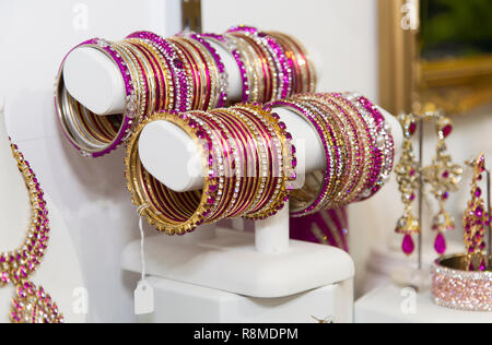 Indian Bangles on display in a shop - Stock Photo