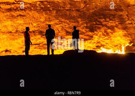 Darvaza Crater in the Karakum Desert in Turkmenistan - Stock Photo