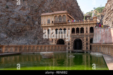 The Monkey Temple of Galtaji Jaipur India - Stock Photo