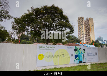 View of Pearl Bank Apartments from Outran Park MRT building site, Singapore - Stock Photo