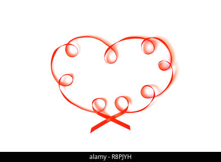 Heart made from ribbon isolated on white. - Stock Photo