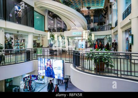 Canada, Quebec, Montreal, Les Cours Mont-Royal shopping mall in the former Mount Royal Hotel, once the largest hotel in the British Empire, interior - Stock Photo