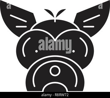 Yorkshire terrier  black vector concept icon. Yorkshire terrier  flat illustration, sign - Stock Photo