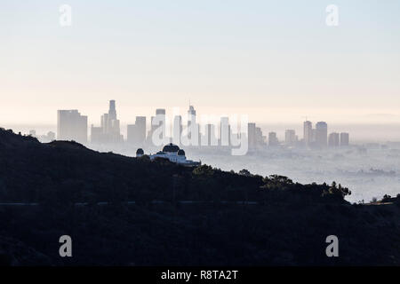 Foggy morning skyline view of downtown Los Angeles from popular Griffith Park near Hollywood California. - Stock Photo
