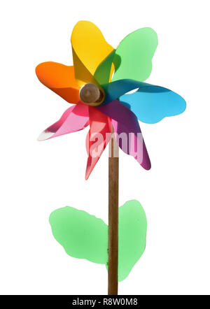 windmill toy garden deco windflower colorful isolated - Stock Photo