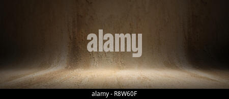 Grey beige plastered curved texture background, banner. Empty wall and floor for presentation, copy space - Stock Photo