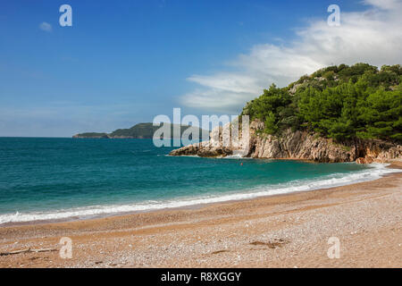 The island of Sveti Nikola from Miločer Plaža, near Budva, Montenegro - Stock Photo