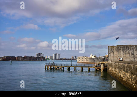 The entrance to Portsmouth harbour with the square tower in the foreground and the round tower behind. - Stock Photo