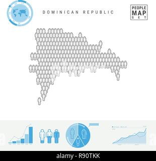 Dominican Republic People Icon Map. Stylized Vector Silhouette. Population Growth and Aging Infographics - Stock Photo