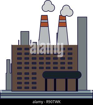 Factory industry building isolated - Stock Photo