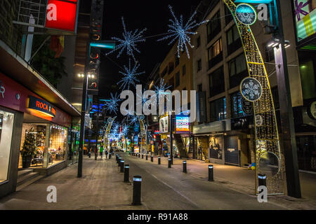 Andorra la Vieja, Andorra - Dec 10th 2017 - The streets of downtown Andorra La Vieja decorated with christmas lights in Andorra in Europe - Stock Photo